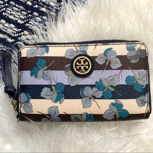 Tory Burch Kerrington floral stripe wallet zip